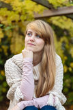 Girl with long blond hair outdoors royalty free stock photography