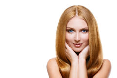 Girl with long blonde hair Royalty Free Stock Images