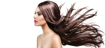 Girl with Long Blowing Hair. Fashion Model Girl Portrait with Long Blowing Hair Royalty Free Stock Photo