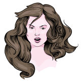 Girl with long brown hair. Eps royalty free illustration