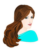 Girl with long brown hair. Elegance portraits vector illustration Stock Photography