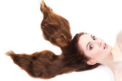 Girl with long brown hair Stock Photos