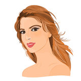 Girl with long brown hair. And brown eyes elegance portraits vector illustration eps 8  without gradients Stock Photography