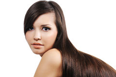Girl with long brown hairs Stock Photography