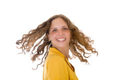 Girl with long curly hair Stock Photography