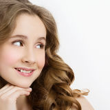 Girl with long curly hair royalty free stock photo