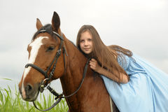 Girl with a horse Royalty Free Stock Photography