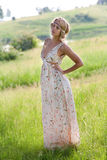 Girl in a a long dress on nature Royalty Free Stock Photo