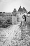 A girl in a long dress Royalty Free Stock Images
