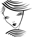 Girl with long eyelashes. Silhouette of a girl with long eyelashes. Black and white vector illustration Stock Photo