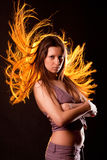 Girl with long flowing hair Royalty Free Stock Photography