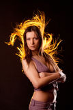 Girl with long flowing hair Stock Image