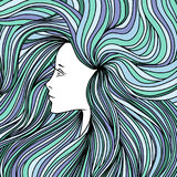 Girl with long green and blue hair. Vector illustration. Girl with long green and blue hair. Vector illustration royalty free illustration