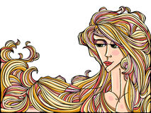Girl with long hair. Art style illustration of young adult girl with long hair Stock Images