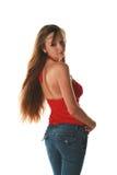 Girl long hair. Woman on a white backgrau Royalty Free Stock Photo