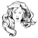 Girl with long hair. Vector eps stock illustration