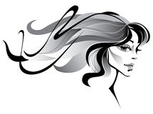 Girl with long hair. Girl with windblown long hair Stock Photography