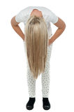 Girl with long hair bending down Stock Photography