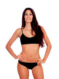 Girl with long hair in black underwear Stock Photo
