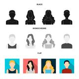 Girl with long hair, blond, curly, gray-haired man.Avatar set collection icons in black, flat, monochrome style vector. Symbol stock illustration Royalty Free Stock Photo