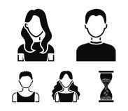 Girl with long hair, blond, curly, gray-haired man.Avatar set collection icons in black style vector symbol stock. Illustration Royalty Free Stock Image