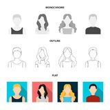 Girl with long hair, blond, curly, gray-haired man.Avatar set collection icons in flat,outline,monochrome style vector. Symbol stock illustration Royalty Free Stock Photo