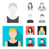 Girl with long hair, blond, curly, gray-haired man.Avatar set collection icons in monochrome,flat style vector symbol. Stock illustration Stock Image