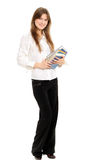 Girl with long hair and book Royalty Free Stock Photography