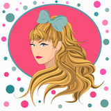 The girl with long hair and a bow Royalty Free Stock Photo