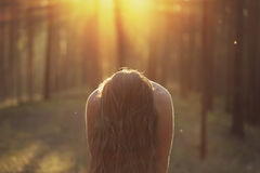Girl with long hair closing face in moody forest Royalty Free Stock Photos