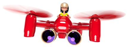 Quadcopter. A girl with long hair controls a red quadroopter. On her head she wears a helmet of virtual reality. 3D illustration Royalty Free Stock Photos