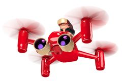 Quadcopter. A girl with long hair controls a red quadroopter. On her head she wears a helmet of virtual reality. 3D illustration Royalty Free Stock Photography