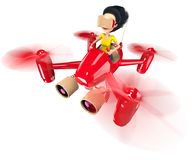 Quadcopter. A girl with long hair controls a red quadroopter. On her head she wears a helmet of virtual reality. 3D illustration Stock Images