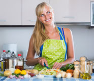 Girl with long hair cooking vegetables in kitchen. Pretty european girl with long hair cooking vegetables in kitchen Stock Image