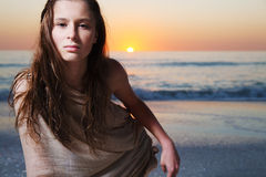 Girl with long hair enjoys summer day. Royalty Free Stock Images