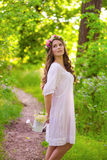 Girl with long hair in a forest Royalty Free Stock Image