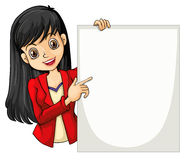 A girl with a long hair holding an empty signage Stock Image