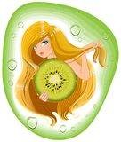 Girl with long hair holds an kiwi fruit. Template label for packing shampoo. Illustration in vector format Stock Image