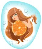 Girl with long hair holds an orange. Template label for packing shampoo Royalty Free Stock Photo