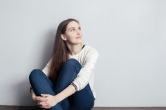 Girl with long hair looking up royalty free stock image