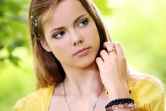 Girl with long hair and a pretty face Stock Photo