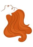 Girl with long hair. Girl in profile with long hair Stock Photos