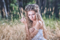 Girl with long hair Stock Photos