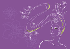 Girl with long hair. vector illustration Royalty Free Stock Photography