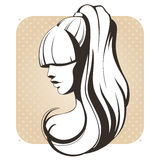 Girl with long hair in vintage style. Vintage stylized graphic vector illustration of a girl with long hair Stock Image