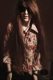 Girl with long hair wearing sunglasses Royalty Free Stock Photo