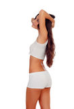 Girl with long hair in white underwear Stock Images