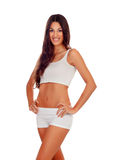 Girl with long hair in white underwear Stock Image