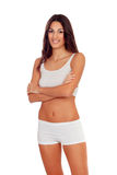 Girl with long hair in white underwear Royalty Free Stock Photography