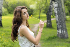 Girl with long hair and yellow dandelion Stock Photography